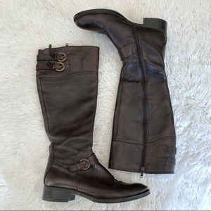 Aldo Dark Brown Leather Riding Boots Size 7